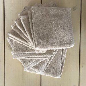 100% Cotton Set of Eight Cream/Beige Wash Cloths